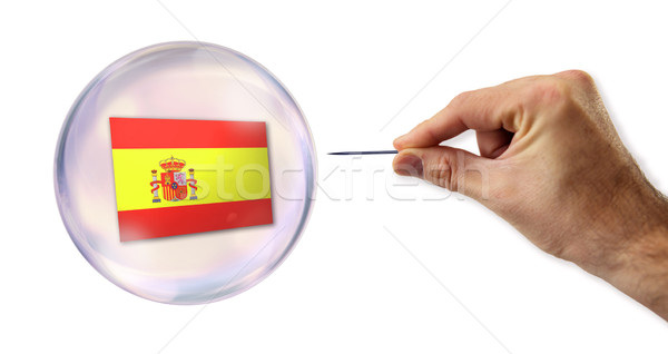 Spanish economic Bubble about to explode by a needle  Stock photo © klublu