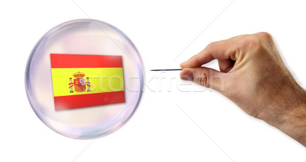 ストックフォト: スペイン語 · 経済の · バブル · 針 · 壁 · 銀行