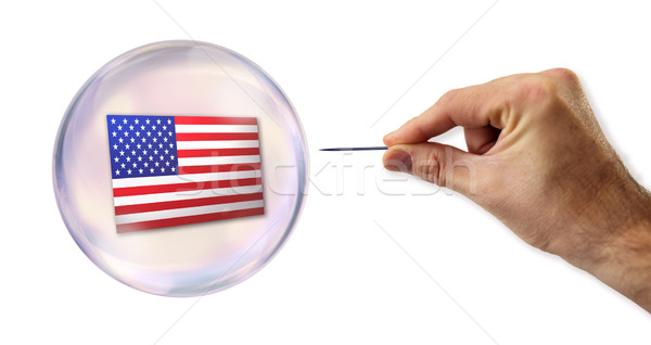 American economic Bubble about to explode by a needle  Stock photo © klublu