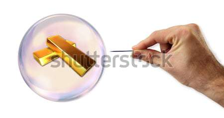 Stock Exchange Bubble about to explode by a needle  Stock photo © klublu
