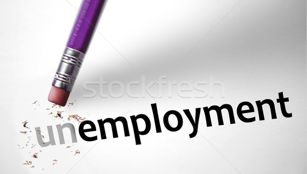 Eraser changing the word Unemployment for Unemployed  Stock photo © klublu