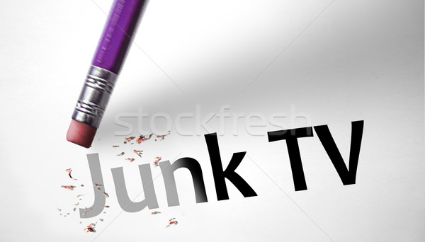 Eraser deleting the concept Junk TV  Stock photo © klublu