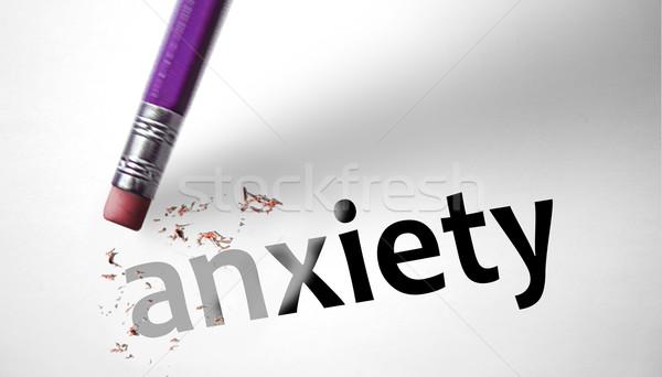 Radír szó szorongás felirat stressz félelem Stock fotó © klublu