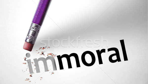 Eraser changing the word Immoral for Moral  Stock photo © klublu