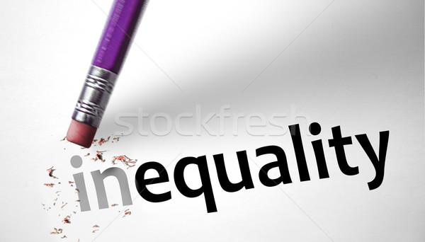 Eraser слово равенство бизнеса деньги бумаги Сток-фото © klublu