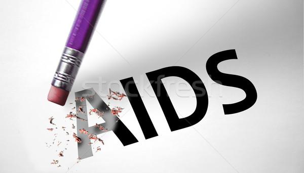 Eraser deleting the word AIDS  Stock photo © klublu