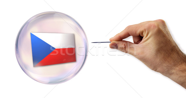 Czech economic Bubble about to explode by a needle  Stock photo © klublu