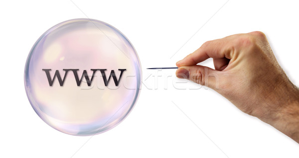 Internet Bubble about to explode by a needle  Stock photo © klublu