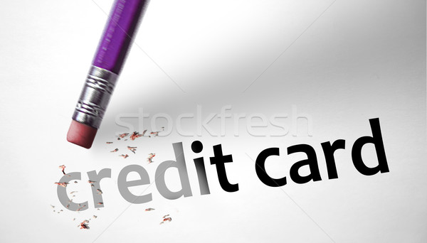 Apagador cartão de crédito dinheiro casa lápis banco Foto stock © klublu