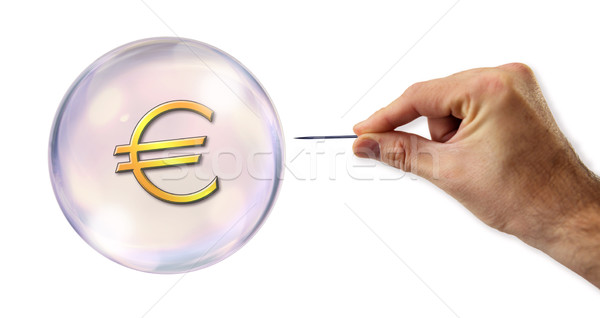 Euro bubble geld hand financieren bank Stockfoto © klublu