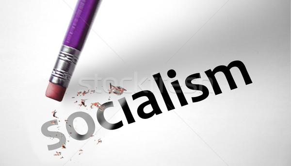 Gum woord socialisme papier Rood hamer Stockfoto © klublu