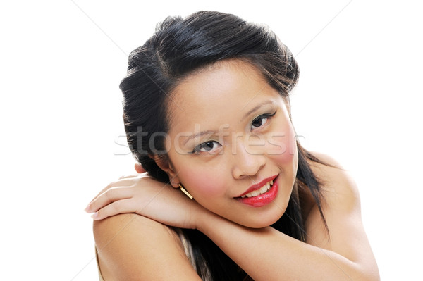 счастливым азиатских Lady подростку глядя Сток-фото © KMWPhotography