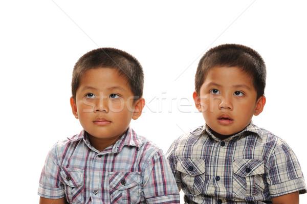 ázsiai ikrek iker fiútestvérek visel divatos Stock fotó © KMWPhotography