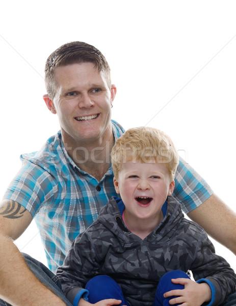 Apa fia nevet fehér izolált boldog család szeretet Stock fotó © KMWPhotography