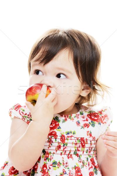 Rode appel cute meisje portret Stockfoto © KMWPhotography