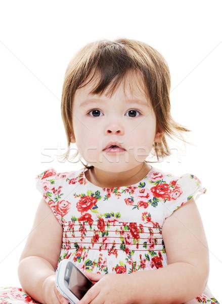 Küçük kız telefon portre genç kız cep telefonu Stok fotoğraf © KMWPhotography