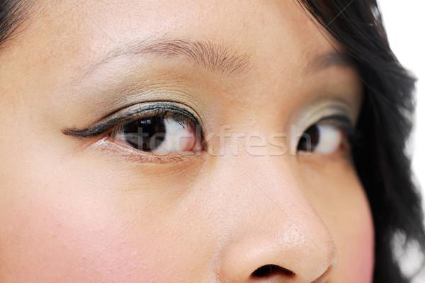 ázsiai szemek lány visel smink közelkép Stock fotó © KMWPhotography