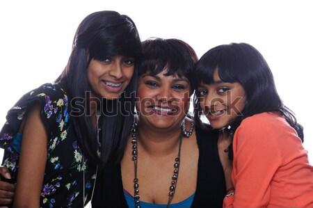 Twee indian zusters asian kijken gelukkig Stockfoto © KMWPhotography