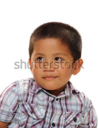 ázsiai fiú felfelé néz visel divatos póló Stock fotó © KMWPhotography