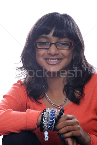 Asya kız gözlük Hint gülen Stok fotoğraf © KMWPhotography