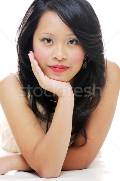 Szépség ázsiai portré hölgy smink néz Stock fotó © KMWPhotography