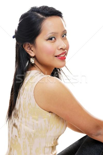Güzel kız Asya bakıyor mutlu makyaj Stok fotoğraf © KMWPhotography