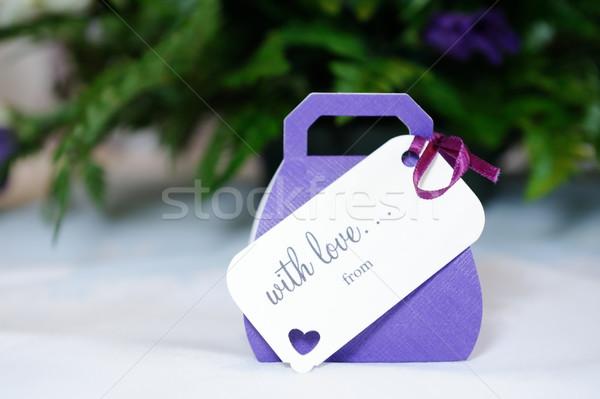 Esküvő lila közelkép ibolya ajándék esküvői fogadás Stock fotó © KMWPhotography