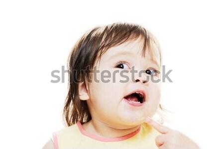 Sevimli küçük kız genç anlamlı kız poz Stok fotoğraf © KMWPhotography