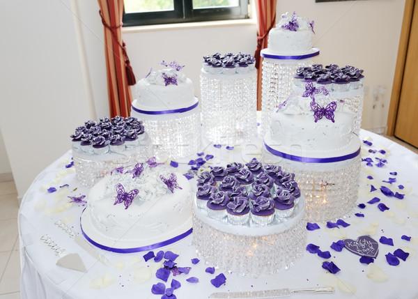 Stock fotó: Hatalmas · esküvői · torta · fehér · lila · ázsiai · recepció