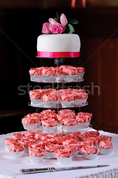 Pink cup cakes at wedding Stock photo © KMWPhotography