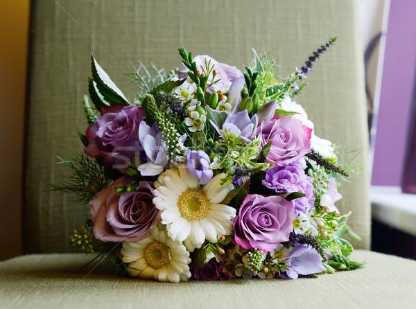 Purple букет невест цветы свадьба день Сток-фото © KMWPhotography