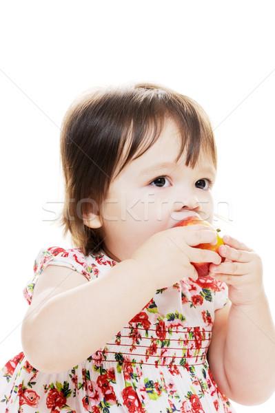 Lezzetli elma bebek kız tatma ilk Stok fotoğraf © KMWPhotography