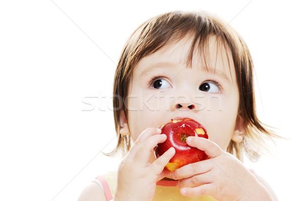 Yeme taze elma genç kız kırmızı elma Stok fotoğraf © KMWPhotography