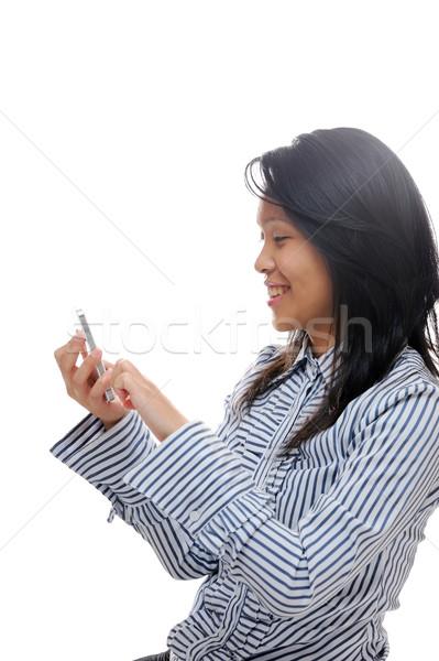Lány sms chat okos ázsiai hölgy okostelefon Stock fotó © KMWPhotography