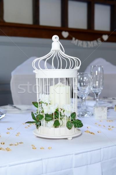 Ricevimento di nozze candela decorazione tavola primo piano dettagli Foto d'archivio © KMWPhotography