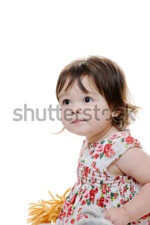 Aranyos lány kétéves kisgyerek néz figyelmes Stock fotó © KMWPhotography