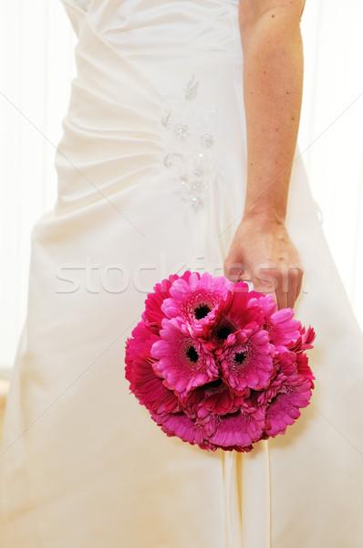 Gelin pembe buket çiçekler düğün Stok fotoğraf © KMWPhotography