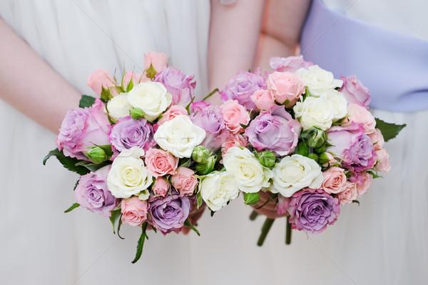 çiçekler iki buket pembe mor Stok fotoğraf © KMWPhotography