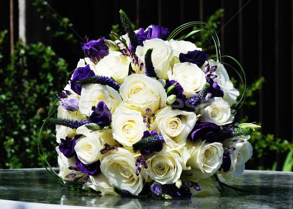 Сток-фото: невест · букет · Purple · цветы · белый