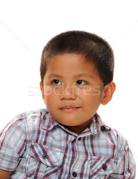 азиатских мальчика улыбаясь модный рубашку лице Сток-фото © KMWPhotography