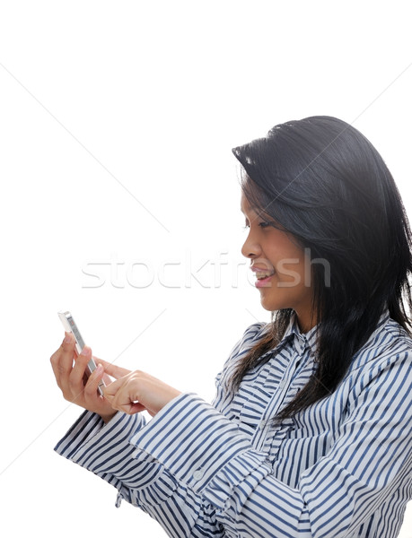 ázsiai lány sms chat okostelefon telefon divat Stock fotó © KMWPhotography