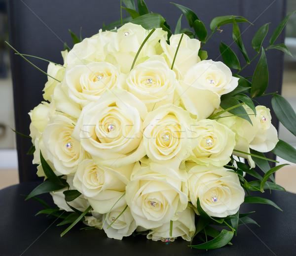 Stock fotó: Menyasszonyok · virágcsokor · citromsárga · rózsák · közelkép · részlet
