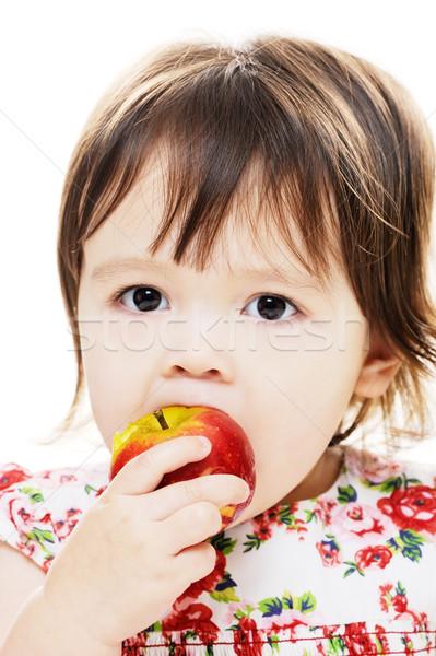 Meisje rode appel jong meisje bijten groot Stockfoto © KMWPhotography