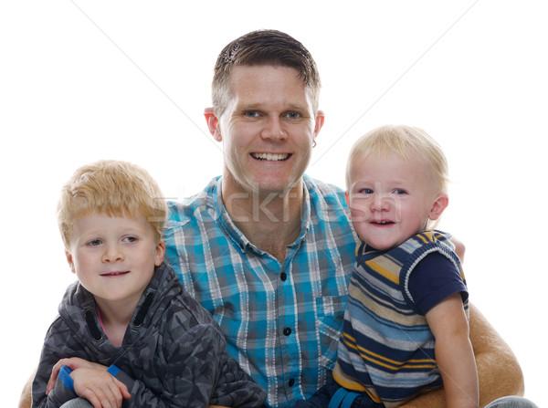 Apa kettő együtt boldog család izolált család Stock fotó © KMWPhotography