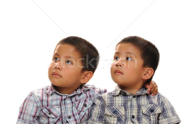 Ikrek ázsiai iker fiútestvérek felfelé néz messze Stock fotó © KMWPhotography