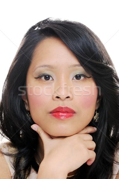серьезный девушки азиатских красивой лице Сток-фото © KMWPhotography