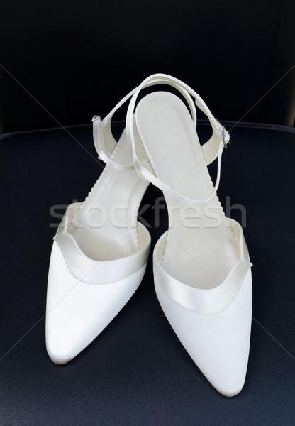 Pár cipők menyasszony esküvő nap fehér Stock fotó © KMWPhotography