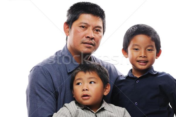 Baba kucaklamak Asya iki sevmek mutlu Stok fotoğraf © KMWPhotography