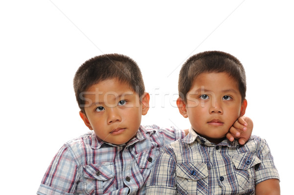 близнец азиатских мальчики посмотреть Cute Сток-фото © KMWPhotography