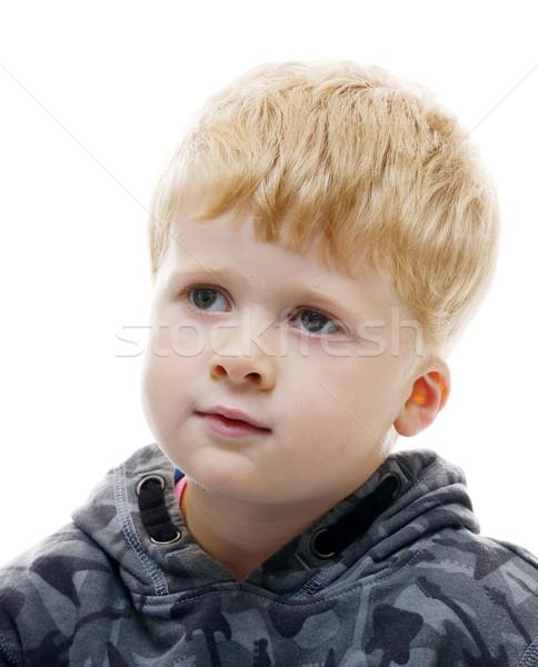 Sarışın erkek genç bakıyor yalıtılmış Stok fotoğraf © KMWPhotography